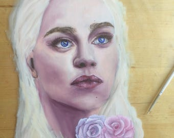 Daenerys Targaryen GOT oil painting on glass