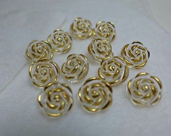 12 clear and  gold - round buttons - 2 holes