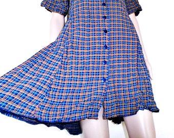 Vintage Dress - Check Dress  - Grunge - Summer - Festival