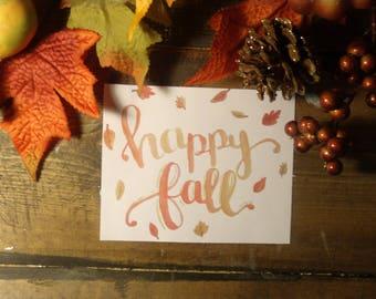 Happy Fall Digital Download - Fall Art- Watercolor Digital Download