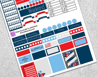 4th of July Weekly Planner Set, Printable Stickers, Digital Planner, Red White and Blue, Independence Day, July 4th