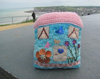 knitted and embroidered miniature House