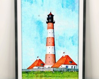 Lighthouse Painting, Marine Decor, Coastal Wall Art, Lighthouse Print, Lighthouse Decor,  Home Decor, Wall Art Decor, Modern Art (N411)