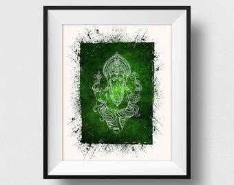 Ganesha Painting, Ganesha Wall Art, Ganesh Print, Yoga Decor, Spiritual India Print, Indian God Home Decor, Watercolor Ganesh (N509)