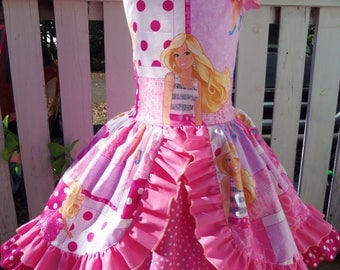 Patchwork  Barbie Doll Costume,Birthday, Tea Party Fairy tale Dress  Size 2t,3t,4t,5t,6,7, 8 Ready to ship(see measurements)