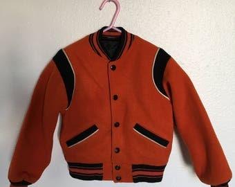 Vintage kids coat/letterman style/jacket/ 50's/60's orange and black kids jacket/NEEDS REPAIR