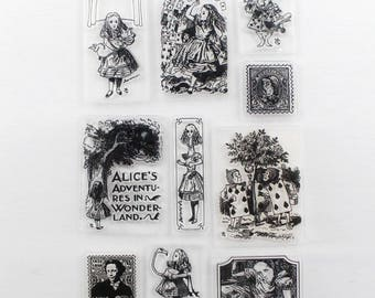 Alice in Wonderland Clear Stamp Set of 10