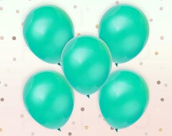 "PASTEL GREEN BALLOONS | Unicorn Theme Balloons | Rainbow Color Theme Party | 11"" Latex Balloon Set | Set of 5"