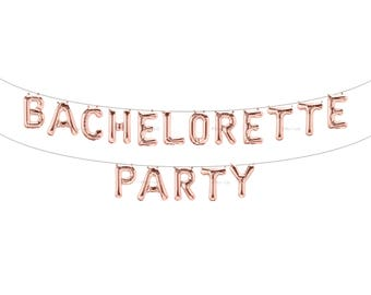 BACHELORETTE PARTY Rose Gold Letter Balloons | Metallic Letter Balloons | Rose Gold Party Decorations