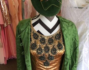 1960's Vintage Beaded Satin Dress