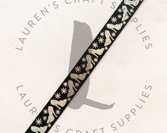 "High Heel Ribbon | Glitter Ribbon | Glass Slipper Ribbon | Diva | Hairbow Ribbon | US Designer Ribbon | 7/8"" Ribbon | Grosgrain Ribbon"
