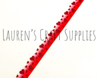 "Heart Ribbon | Valentine's Day Ribbon | Glitter Ribbon | Valentine Bow | Hair Bow Ribbon | US Designer Ribbon | 7/8"" Ribbon | Grosgrain"