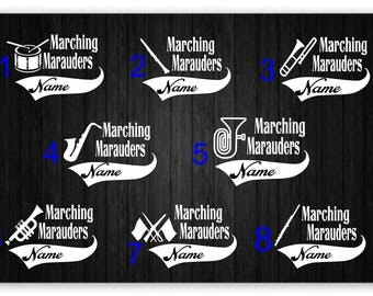White Marching Band Vinyl Decals, 4x6 inches, Car Decal, Drums, Clarinet, Flute, Trumpet, Tuba, Color Guard, Flags, Saxophone, Trombone
