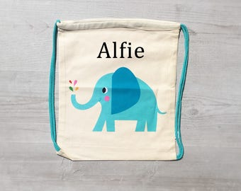 Personalised Kids Elephant Draw String Bag - Custom Children's Bag - Embroidered Name