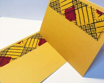 African Print Greeting Card // Marigold Blank Card // Handmade Fabric Greeting Card // With Envelope