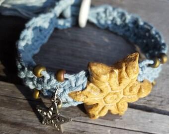 Icy blue hemp macrame boho bracelet handmade snowflake ceramic focal bead artisan jewelry