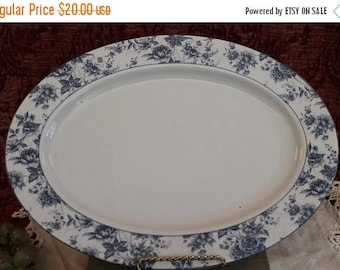 "SALE Lynne's Chesam Chintz 14"" Serving Platter - Blue and White Floral"