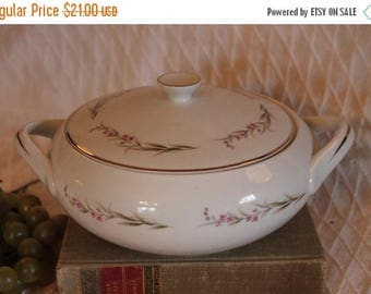 SALE Prestige Fine China Covered Serving Bowl with Handles - Cherry Blossom Pattern