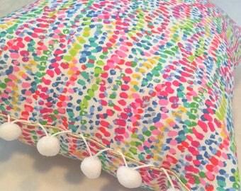 Multi-Colored Pom Pom Throw Pillow