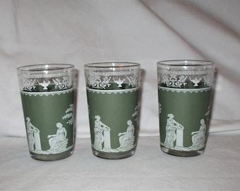 Vintage Jeanette Green Hellenic Grecian Juice Glasses Set 3