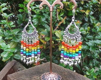 Chakra Earrings, Chakra Chandelier Earrings, Chandelier Earrings, Rainbow Earrings, Gypsy Earrings, Boho Earrings, Bohemian Earrings
