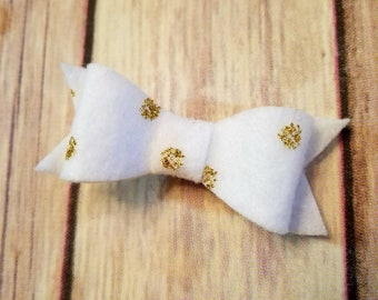gold polkadot hair bows, gold polkadot headband