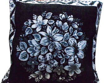 Floral Designer Cushion Cover Black Home Decor Throw Art Pillow Cover Velvet Decorative Bed Sofa Fabric Pillow Cover Indian Gift Case 15X15