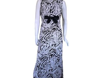 Jean Allen For Cresta Vintage 1960s Black & White Cotton Bow Maxi Dress