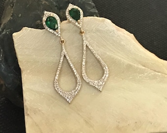 SPECIAL OFFER Emerald And Diamond Earrings, Diamond Earrings,Emerald Earrings,Gold Earrings,Gold Jewellery, Zambian Emerald,Giftsforher