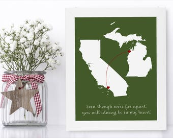 Mamaw Christmas Gift Unique Long Distance Gift 2 Map Art Two Map Print Personalized State Country Distance Present Birthday Gifts Christmas