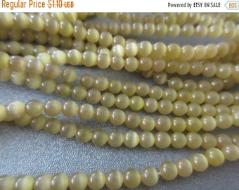 ON SALE 15% OFF Olive Cat's Eye Round 4mm Beads 105pcs