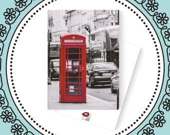 Red Phone Booth | 5x7 Flat Greeting Card | Blank Cards | Bright White | Blank Flat Cards | Photo Print | Travel | Set of Cards | London | UK