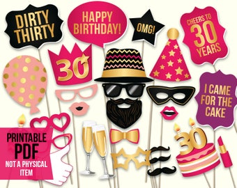 30th birthday photo booth props: printable PDF. Hot pink and gold. Dirty thirty props. Thirtieth birthday party supplies. Mustache, lips.