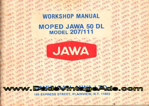 1978 Jawa Moped 50 DL Model 207/111 Workshop Manual #mm108