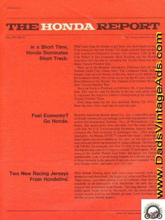 1974 Honda Report #5 Honda Dominates Short Track Ad #d74ea27