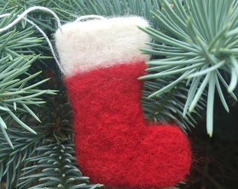 Needle Felted Christmas Stocking Ornament, Needle Felted Christmas Stocking Decoration, Needle Felted Christmas Stocking