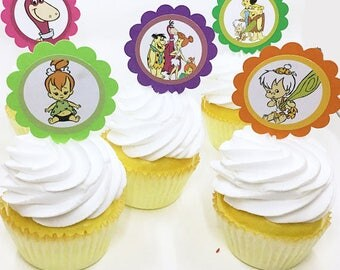 "The Flintstones Bam Bam Pebbles  | CupCake Toppers, cupcake picks, food picks, 4"" Lollipop Stick Set of 12"