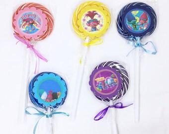 Trolls | Lollipops Set of 10 , Dessert Table, Candy Favors, Swirl Lollipops, Fruity, Candy Bar