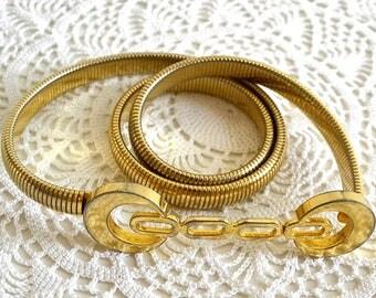vintage gold snake belt coil belt stretch belt disco belt gold metal belt