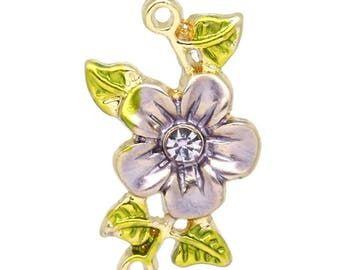 Purple ENAMELLED flower and rhinestones on gold tone connector