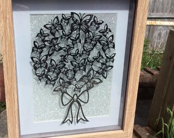Butterfly bouquet papercut, design by tommy&tilly,  wall art, home decor, perfect gift