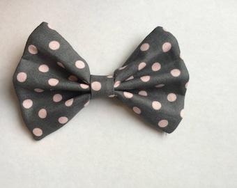 Pink and Gray Polka Dot Bow