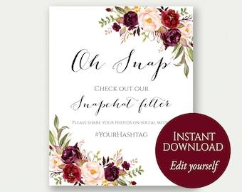 Oh Snap, Snapchat Filter Sign, Snapchat Sign, Snapchat Geofilter Sign, Check Out Our Snapchat, Marsala, Wedding Snapchat Filter Print