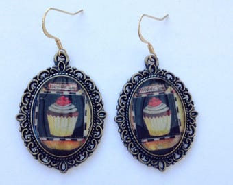 Vintage chocolate cupcake earrings