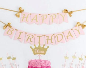 American Birthday Banner Birthday Decorations Pink and