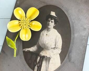 Beautiful Vintage Buttercup Yellow Enamel Stem Flower Brooch - OSVA0034