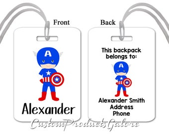 Choose your Superhero Backpack Tag, Back to School, Personalized Backpack or Lunchbox Tag for Kids, Fun Luggage Tag for Child