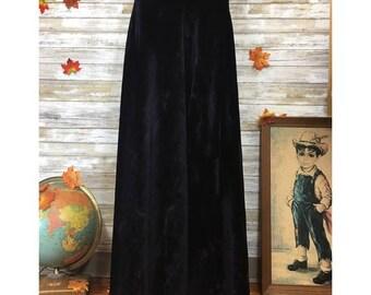 Vintage 70s Black Velvet High Waist Wide Leg Trousers