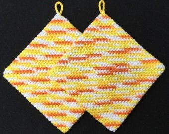 Crochet Pot Holders, Crochet Hot Pads, Thick Pot holders, Handmade, Housewarming gift, Kitchen Gift, Trivets, Yellow, Orange, FREE SHIPPING