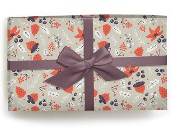 Holiday Gift Wrap - Wrapping Paper - Autumn Acorns - Pack of 3 sheets